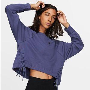 Nike Blue Tie Side Cropped Sweatshirt